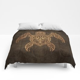 Intricate Vintage and Cracked Sea Turtle Comforters