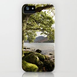 Oak tree on the shore of Buttermere with Haystacks beyond. Lake District, Cumbria, UK iPhone Case
