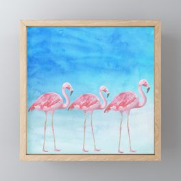 Flamingo Bird Summer Lagune - Watercolor Illustration Framed Mini Art Print