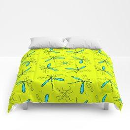Turquoise Dragonflys On Yellow Back Comforters