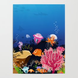 Beautiful Coral Reef Animals Poster