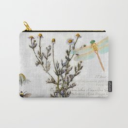 Chamomile Herb, Dragonfly Bumble Bee Botanical painting, Cottage style Carry-All Pouch