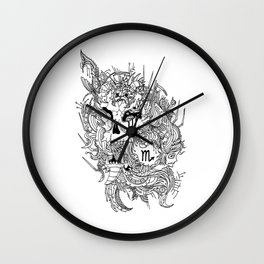 Scorpio Skull Zodiac Sign For October and November Birth Day Gift Wall Clock