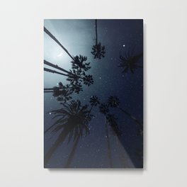 Palm Trees, Night Sky, Stars, Moon Metal Print