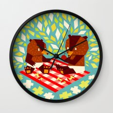 picknick bears Wall Clock