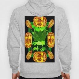 Emerald & Topaz Birthstone Gems Yellow-Green-Black Design Hoody