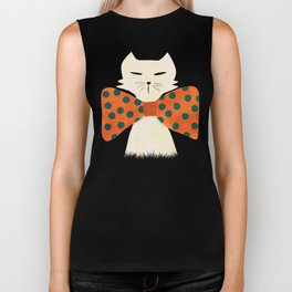 Cat with incredebly oversized humongous bowtie Biker Tank