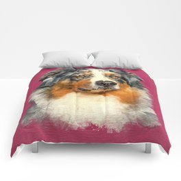 Australian Shepherd - Blue Merle Watercolor Digital Art Comforters