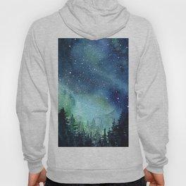 Galaxy Watercolor Aurora Borealis Painting Hoody
