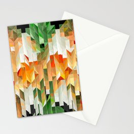 Geometric Tiled Orange Green Abstract Design Stationery Cards