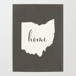 Ohio is Home - White on Charcoal Poster