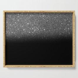 Black & Silver Glitter Ombre Serving Tray