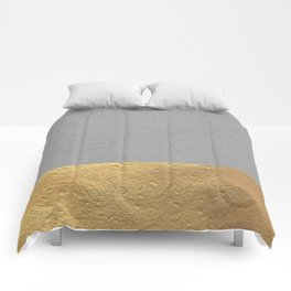 Color Blocked Gold & Grey Comforters