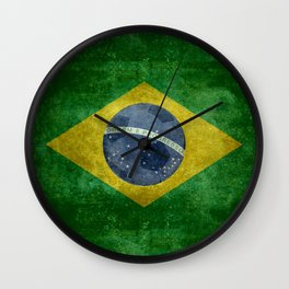 Flag of Brazil with football (soccer ball) retro style Wall Clock