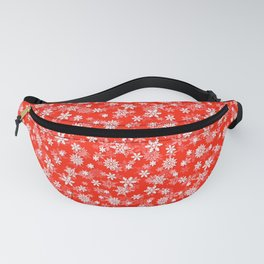 Festive Fiesta Red and White Christmas Holiday Snowflakes Fanny Pack