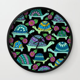 Tortoises Black Wall Clock