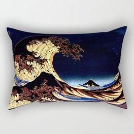 The GREAT Wave Midnight Blue Brown Rectangular Pillow