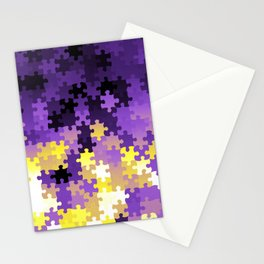 Nonbinary Pride Puzzle Pieces Pattern Stationery Cards