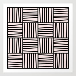 Bold Graphic Memphis Pattern, Black & Pink Blocks & Lines Art Print