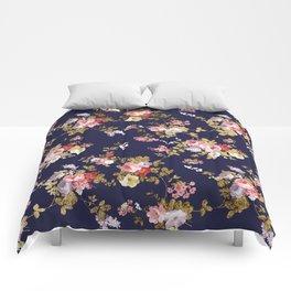 Elegant navy blue pink gold boho floral Comforters