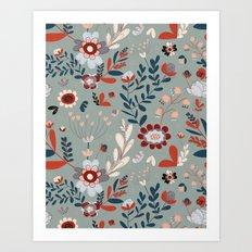 Deep Indigos & Gray Garden Hearts Art Print