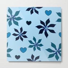 Blue Poinsettia Metal Print
