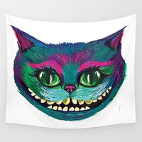 mad hatter Wall Tapestries featuring Mad as a Hatter by Samantha Petrin