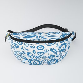 Beautiful folk art floral ornament with blue flowers on white background Fanny Pack