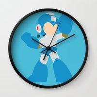 mega man Wall Clocks featuring Mega Man(Smash)Blue by ejgomez