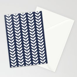 Navy Blue and White Scandinavian leaves pattern Stationery Cards