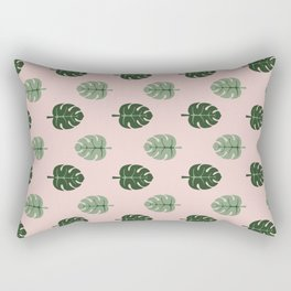 Tropical leaves Monstera deliciosa green and pink #monstera #tropical #leaves #floral #homedecor Rectangular Pillow