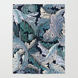 Art Nouveau William Morris Blue Acanthus Leaves Poster