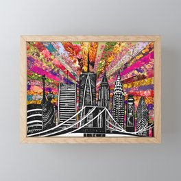 Linocut New York Blooming Framed Mini Art Print
