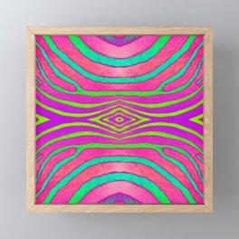 Neon Zebra Pattern Framed Mini Art Print