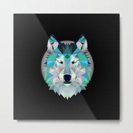 Dark Geometric Wolf Metal Print