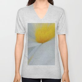 Floral Abstract Yellow and White Unisex V-Neck
