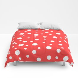 White Dots on Red Comforters