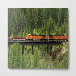 Train Going Over The Goat Leak Bridge Metal Print