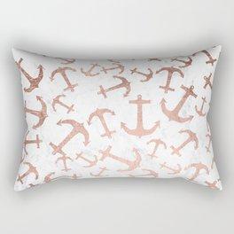 Modern faux rose gold anchors pattern white marble Rectangular Pillow