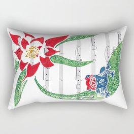 Coqui   (South American Poison Dart Frog with flower on sheet music) Rectangular Pillow