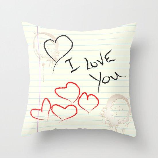 I love you doodle Throw Pillow