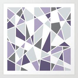 Geometric Pattern in purple and gray Art Print