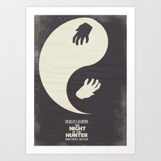 The Night of the Hunter - Minimal Poster (Robert Mitchum, Charles Laughton) classic Hollywood mo Art Print