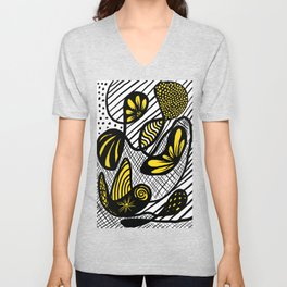Patterns Within Patterns In Black And Yellow Ink Unisex V-Neck