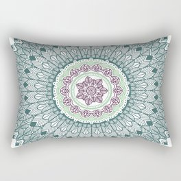 Color teal and purple feather mandala hippie boho Rectangular Pillow