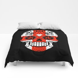Sugar Skull with Roses and Flag of England Comforters