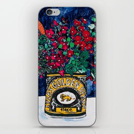 Wild Flowers in Golden Syrup Tin on Blue iPhone Skin