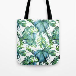 Blue Jungle Leaves, Monstera, Palm #society6 Tote Bag