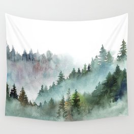 Watercolor Pine Forest Mountains in the Fog Wall Tapestry
