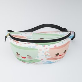 Cute blue pink green Kawai cup, coffee tea with pink cheeks and winking eyes, polka dot background Fanny Pack
